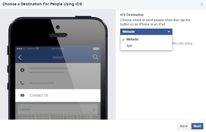 Facebook Call to action app