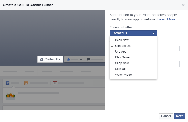 Facebook Call to action button options