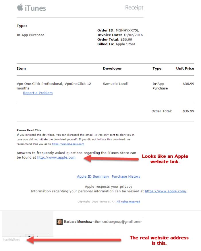 Apple Receipt Scam