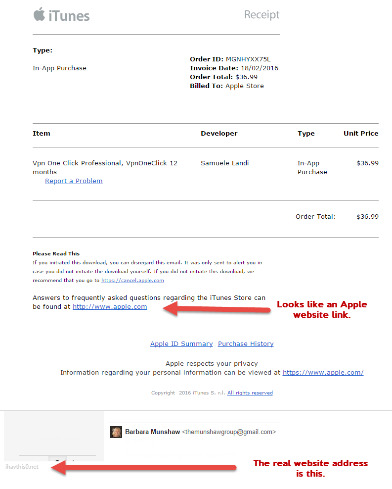 Apple Receipt Scam